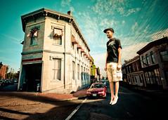 Street Levitation (Sky Noir) Tags: street city boy urban usa man scale vertical photography virginia fly kid jump downtown escape perspective hipster levitation richmond retro va indie rise float rva skynoir