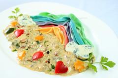 Rainbow Pasta with Gorgonzola Sauce (·D.M·) Tags: food colors cheese stars mushrooms bacon rainbow sauce egg cream pasta homemade onion flour paprika gorgonzola