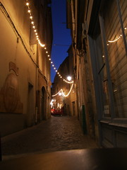 Midnight Blue (Annie in Beziers) Tags: street sky france night lights cobblestones streetscenes midnightblue notanalley bziers rueviennet annieinbziers