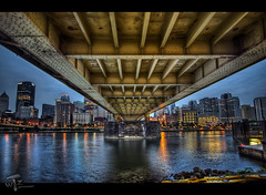 Under the Roberto Clemente (Theaterwiz) Tags: bridge pittsburgh pennsylvania bluehour hdr promote robertoclementebridge photomatix 9exposures canon1022efs highdynamicrangephotography canon7d promotecontrol theaterwiz theaterwizphotography stunningphotogpin