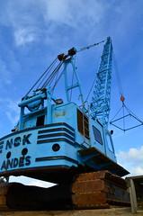 Blue Crane (dant_89) Tags: colors rust colours crane tracks vivid machinery vehicles dorset swanage sandbanks boatyard skyblue lifting dockyard brightblue