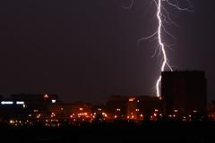 Lightning blast (Dan Idoine) Tags: street city sky cloud storm nature rain night canon germany dark landscape outside long exposure factory nightscape frankfurt flash strike lightning hyundai blast thunder offenbach oberrad 1000d