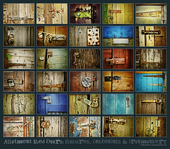 Shed closures, fastenings & ironmongery (Mike Ashton) Tags: door wood texture rust colours timber mosaic shed montage allotment ironmongery fastenings closures tatiness