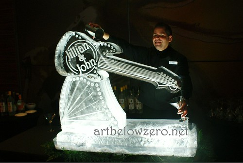 Guitar Luge w Names ice sculpture