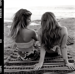 (HereNorth) Tags: ocean girls white black 120 film beach water zeiss hair lens photography sand women long kodak blondes north here cm hasselblad carl 500 bikinis 80mm 500cm 125px herenorth