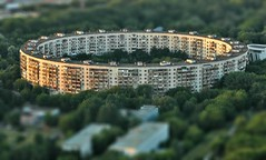 Circle House (Serge Freeman) Tags: trees house building architecture photoshop circle evening russia moscow aerial