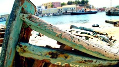 Chania (Gabriela__F) Tags: wood old sea lighthouse boat sand niceshot harbour sony greece forgotten crete lonely alpha destroyed chania dslra230