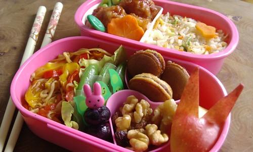 Een roze lunchdoosje uit 2 delen. Het grootste doosje is half gevuld met een kleurige chinese nasi met daar bovenop een wortel in de vorm van een dennenbloem. Links in dat doosje zitten 2 deegballetjes met daaromheen een dun laagje rode saus. Er voor zit een stukje ananas waar tegen aan een plakje wortel in de vorm van kersenbloesem zit. In een van de balletjes zit een prikker in de vorm van een abstract 'takje met blaadje', deze komt uit naast de wortel-bloem. Tussen de balletjes zitten opengesneden sugar snap 'blaadjes' (van bovenaf gezien lijken deze boontjes een beetje op blaadjes.) In het andere bakje zit links geroerbakte taugé en paprikareepjes in drie kleuren: geel, oranje en rood. Daar naast liggen sugar snap boontjes tegen een baran verdeler met daar op boontjes met vrolijke gezichtjes. Daar tegen aan zitten twee roze hartvormige cups. In de onderste zit walnoten met wat rozijnen, in de bovenste mini-dorayaki. Rechts van de cups een appel-konijn en tussen de cups en baran zit een roze prikken met het hoofd van nijntje. Deze prikker zit in de lengte door drie bosbessen heen.
