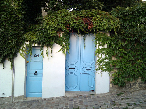 Light Blue Door in Montmartre, Paris