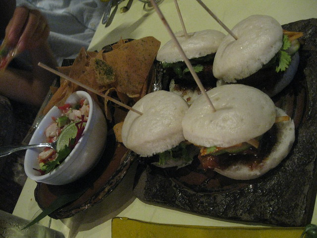 pork buns and ceviche