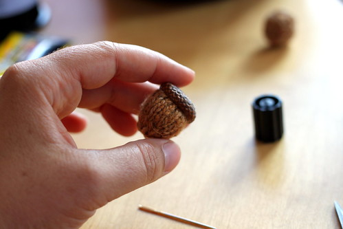 knitted acorns.