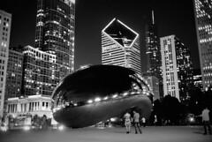Night Bean, Chicago (rnx070) Tags: leica city blackandwhite bw chicago film skyline architecture night 35mm milleniumpark portra summilux m6 chicagoskyline 35lux flickraward mygearandme flickrawardgallery