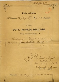 Pubblicazione del testamento di Giovanni Battista Polli, notaio Rinaldo Dell'Oro, 1887, ALPE, Testatori, Polli Giovanni Battista