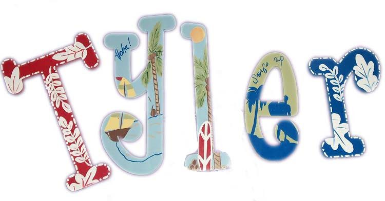 Pottery Barn Kids Island Surf Wooden Wall Letters