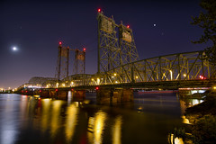 I-5 Interstate Bridge over Columbia River from Vancouver Washington Night - HDR (David Gn Photography) Tags: light moon reflection night vancouver oregon portland stars washington highway raw waterfront steel trails scene moonlight hdr exp columbiarivercrossing i5interstatebridge canoneos7d sigma1020mmf35exdchsm sigma50th