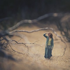 like scratches (fiddle oak) Tags: world portrait orange woman green beach nature landscape sand silent gray salt skirt thinking barefoot twigs deadwood tingting wanderer parched littlefolk fiddleoak