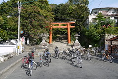 Bicycles parked near Yoshida Shrine