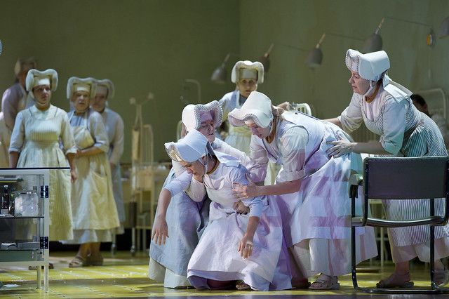 "Ermonela Jaho as Sister Angelica, Gillian Webster as Alms Sister, Elizabeth Woollett as Nursing Sister, Elizabeth Sikora as Mistress of the novices in Richard Jones' production of Suor Angelica. The Royal Opera season 2011/12. <a href=""http://www.roh.org.uk"" rel=""nofollow"">www.roh.org.uk</a> Photo by Bill Cooper"