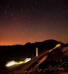 Star Trails over South Holston Dam (Greg Booher) Tags: longexposure usa motion night canon bristol stars landscape eos rebel lights tennessee north slowshutter sullivan 1855 efs startrails xsi easttennessee lightpollution polaris northstar 450d northeasttennessee southholstondam gregbooher