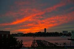 Red Sky (Adam Lerner) Tags: nyc newyorkcity sunset skyline chelsea cityscape hudsonriver hudson gothamist westside curbed highline brownstoner adamlerner httpadamlernernet httpadamlernerphotocom