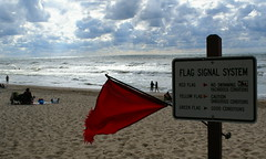 Red flag = no swimming (Francesca (@WorkMomTravels)) Tags: sky beach clouds swimming sand michigan flag lakemichigan southhaven redflag vanburenstatepark flagsignalsystem