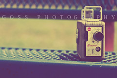 I'm always aware of the camera and it feels like that's the audience. (Julia Goss Photography) Tags: vintage bench brownie camcorder