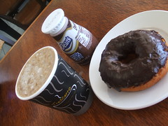 Donut, iced latte, chocolate milk