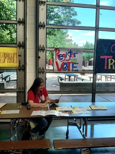 Volunteers registering voters at Rio Grande High School