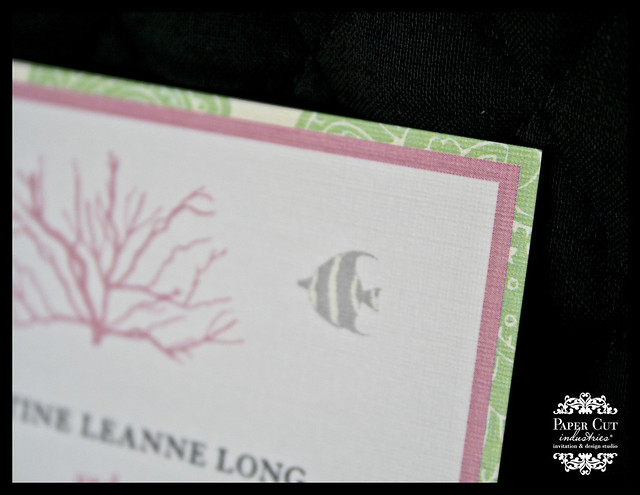 Custom pink, gray, and green coral wedding invitations
