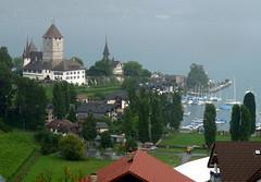 Schloss Spiez and Schlosskirche (karenblakeman) Tags: castle marina switzerland august spiez schlosskirche 2011 lakethun castlechurch schlossspiez speizcastle