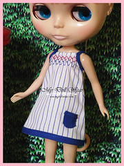 Blythe Outfit - Simple Summer Blue Smocked Dress