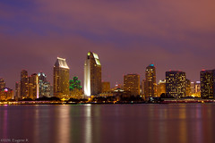San Diego Skyline at Night (eramos_ca) Tags: longexposure reflection skyline downtown cityscape nightshot sandiego coronado sandiegoskyline downtownsandiego canon50d
