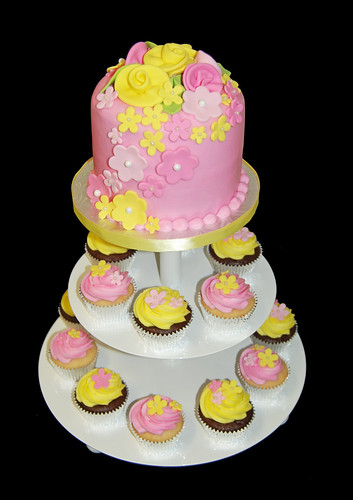 pink and yellow flower bridal shower cupcake tower