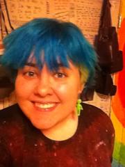 Haircut (Ty-Erin-Saurus Rex) Tags: portrait bluehair greenhair manicpanic yellowhair multicoloredhair iphoneography