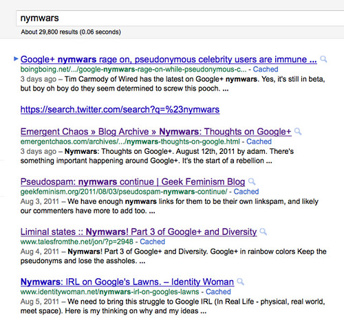 Google search results for nymwars when not logged in, Liminal States at #5