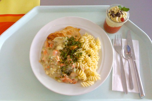 Gebratene Hähnchenbrust auf Rahmgemüse / Chicken breast with cream vegetables