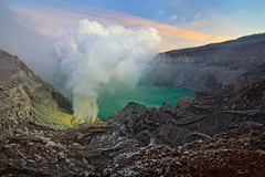 Kawah Ijen (Helminadia Ranford(New York)) Tags: travel lake sunrise indonesia landscape volcano smoke sulfur eastjava ijen