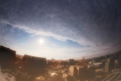 Eye-opening (y2-hiro) Tags: city sky sun sunlight reflection clouds nikon fisheye 15mm d3s