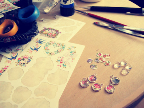 making Tiny Garden necklaces