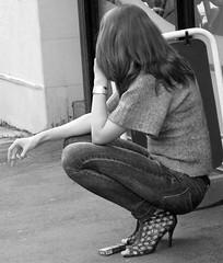 Sandals and Ciggies (canonsnapper) Tags: blackandwhite cigarette smoking bandw smoker sandal