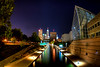 Skyline from the River Walk (JGo9) Tags: park water skyline museum night canon buildings river landscape eos rebel lights canal downtown cityscape indianapolis indy indiana fisheye hdr riverwalk in t1i someguywassingingtompettysongs