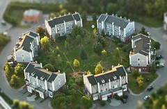 Round & Round (Serge Freeman) Tags: houses yard photoshop buildings evening russia moscow aerial