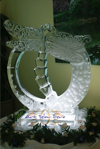 Dragonfly ice sculpture
