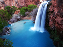 Havasu Falls, Grand Canyon, AZ (scottferrisphoto) Tags: longexposure blue arizona southwest beautiful landscape waterfall amazing hiking grandcanyon az backpacking waterfalls havasu northernarizona reservation supai havasupai havasufalls