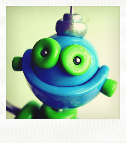 Sneak Peek Blue | Green Robot is Full of Smile by HerArtSheLoves