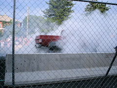 Tire Smokin' Chevy (Eyellgeteven) Tags: classic chevrolet truck fence 4x4 smoke pickup chainlink chevy fencing burnout madeinusa americanmade fourwheeldrive chev burningrubber fencedin peelingout shortbed burnoutcompetition rubbersmoke eyellgeteven