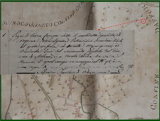 """Esempio di lettura della """"Mappa dei fondi [...] di Villapizzone, [...]"""" del 1769"""