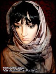 Handy dyed silk (Shaylati) Tags: hijab shayla handpaintedsilk ribbonnecklace collarnecklace