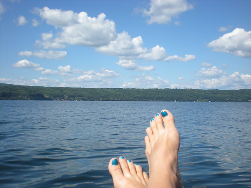 Blue toes on the dock