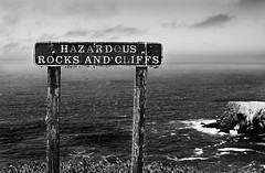Hazardous (andy p m) Tags: ocean california county blackandwhite cliff usa white black sign danger warning landscape outdoors mono coast marin cliffs marincounty hazardous headland americanwest2011
